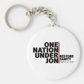 Una nación debajo de Jon (cordura del restablecimi Llavero Redondo Tipo Pin