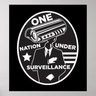 Una nación debajo de la impresión de la vigilancia póster