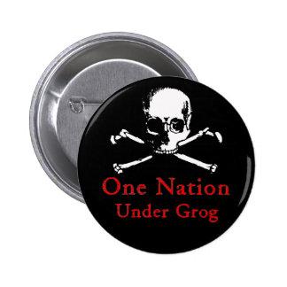 Una nación debajo del botón del grog (cráneo blanc pin redondo de 2 pulgadas