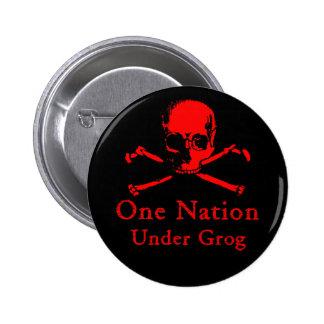 Una nación debajo del botón del grog (cráneo rojo) pin redondo de 2 pulgadas