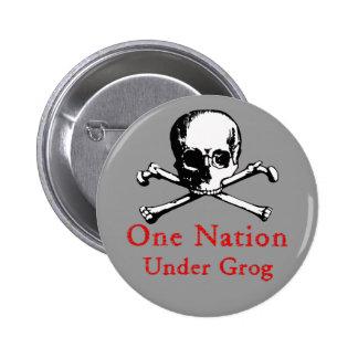 Una nación debajo del botón del grog (imagen blanc pin redondo de 2 pulgadas