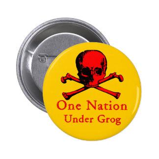 Una nación debajo del botón del grog (imagen roja  pin redondo de 2 pulgadas