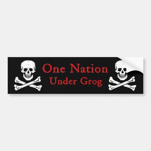 Una nación debajo del grog Bumpersticker (litros r Etiqueta De Parachoque