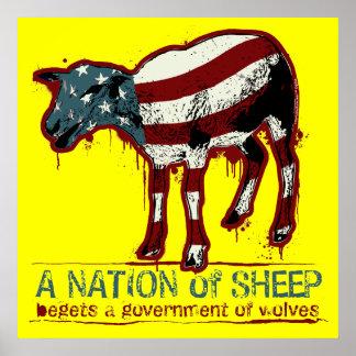 Una nación del poster de las ovejas