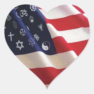Una nación muchos dioses pegatina de corazon personalizadas