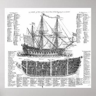 Una nave de la guerra póster