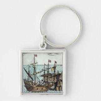 Una nave de tesoro española llavero