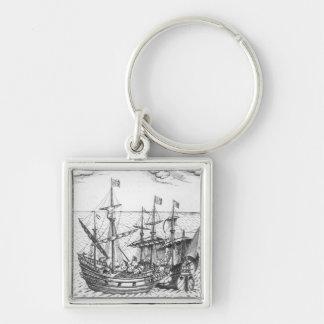 Una nave de tesoro española llaveros personalizados