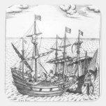 Una nave de tesoro española pegatinas cuadradas