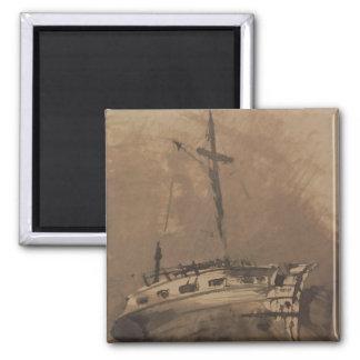 Una nave en los mares picados, 1864 imán cuadrado