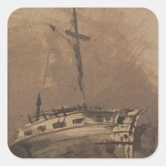 Una nave en los mares picados, 1864 colcomanias cuadradas personalizadas