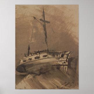 Una nave en los mares picados, 1864 póster