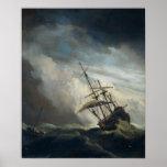 Una nave en necesidad en una tormenta que rabia impresiones