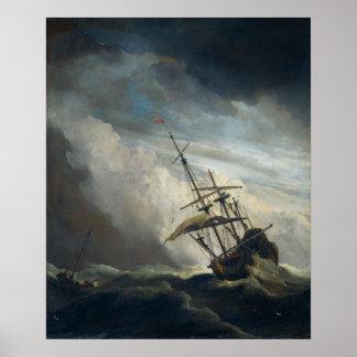 Una nave en necesidad en una tormenta que rabia póster