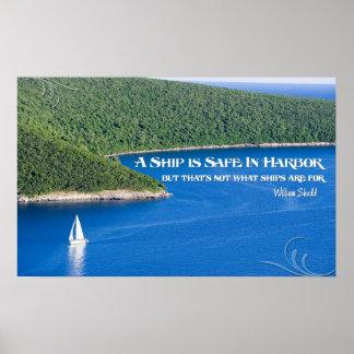 Una nave es segura en poster de motivación del pue
