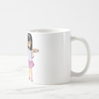 Una niña con una paleta de la pintura tazas