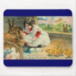 Una niña y sus conejitos Pascua Mousepad Tapete De Ratones