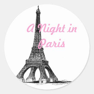 Una noche en París Etiquetas Redondas