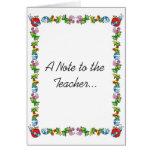 Una nota al profesor… tarjeta de felicitación