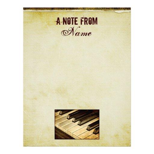 Una nota de… El piano cierra el papel con membrete Plantilla De Membrete