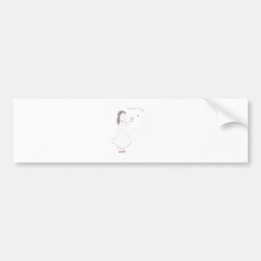 Una nota del chica de las gracias pegatina de parachoque