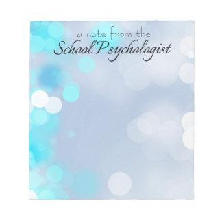 Una nota del psicólogo de la escuela libreta blocs de papel