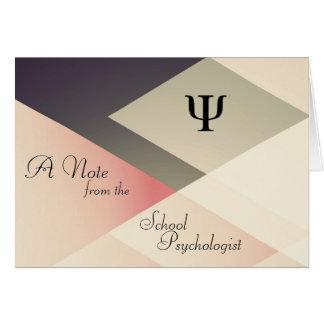 Una nota del psicólogo de la escuela (tarjetas de  tarjeta pequeña