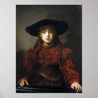 Una novia judía - Rembrandt - 1641 Póster