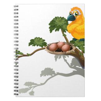 Una observación de pájaros anaranjada los huevos spiral notebook