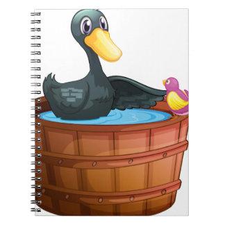 Una observación de pájaros el pato sobre el cubo notebook