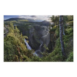 Una opinión amplia de la tarde - Hordaland, Norueg Póster