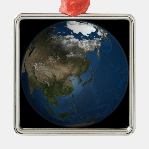 Una opinión global sobre Asia con hielo marino Ornamentos De Navidad