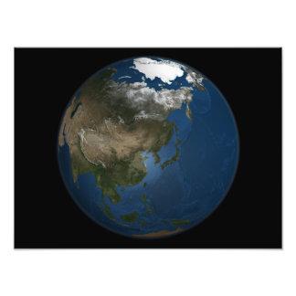Una opinión global sobre Asia con hielo marino Fotografías