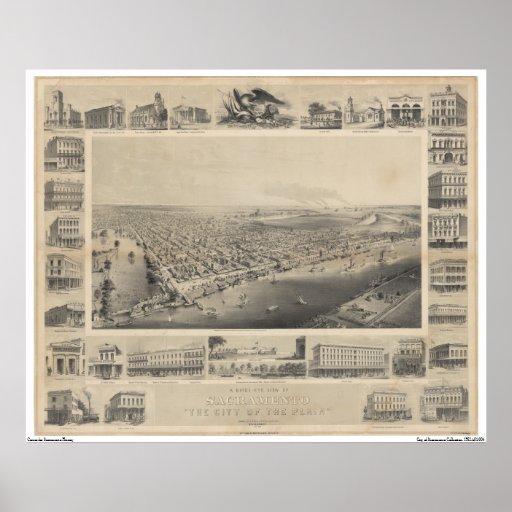 Una opinión Sacramento, 1857 del Pájaro-Ojo Poster