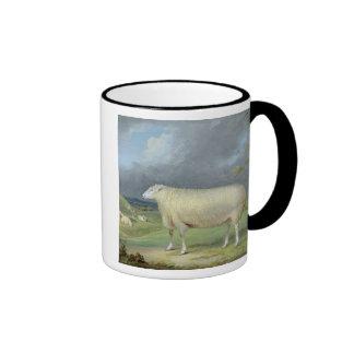 Una oveja de Leicester de la frontera (aceite en Taza De Dos Colores
