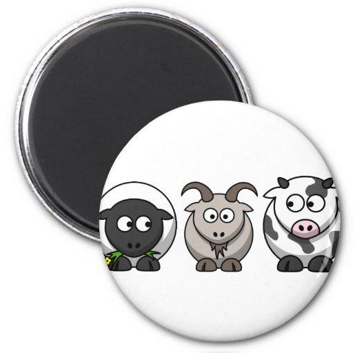 Una oveja, una cabra y una vaca imán de nevera