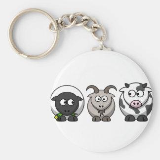 Una oveja, una cabra y una vaca llavero redondo tipo pin