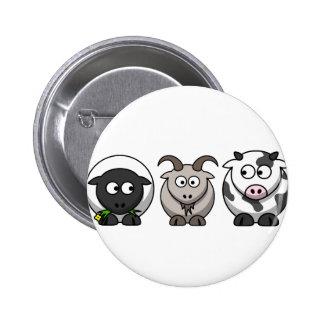 Una oveja, una cabra y una vaca pin redondo de 2 pulgadas