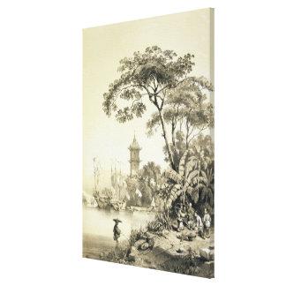 Una pagoda en el canal del Macao-Cantón, platea 21 Lienzo Envuelto Para Galerías