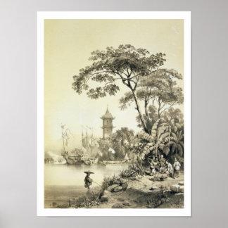 Una pagoda en el canal del Macao-Cantón platea 21 Posters