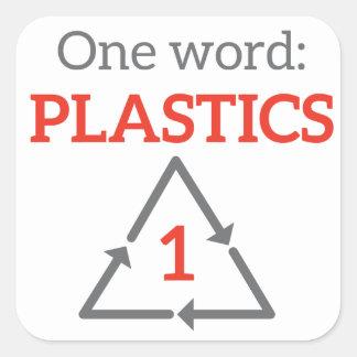 Una palabra: Plásticos Pegatinas Cuadradas Personalizadas