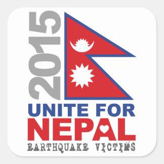 Una para el alivio del terremoto de Nepal Pegatina Cuadrada