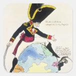 Una parada a un paso grande sobre el globo, 1803 pegatina cuadrada
