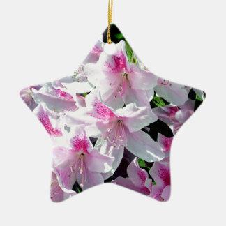 Una pared de azaleas rosadas adorno de cerámica en forma de estrella