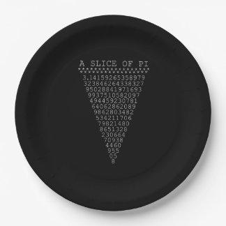 Una parte del triángulo del pi platos de papel