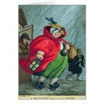 Una partera que va a un trabajo, 1811 tarjeta de felicitación