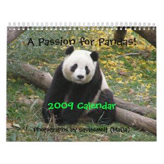 ¡Una pasión para las pandas 2009 hacen calendar