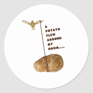 Una patata voló alrededor de mi sitio pegatina redonda