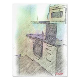 Una pequeña cocina cojinete