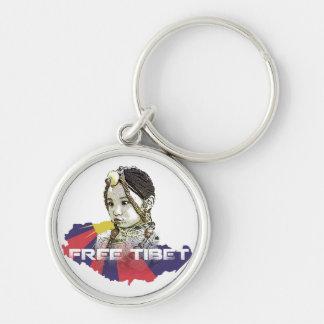 ¡Una pequeña RESERVA tibetana TIBET~ del chica! Llavero Redondo Plateado